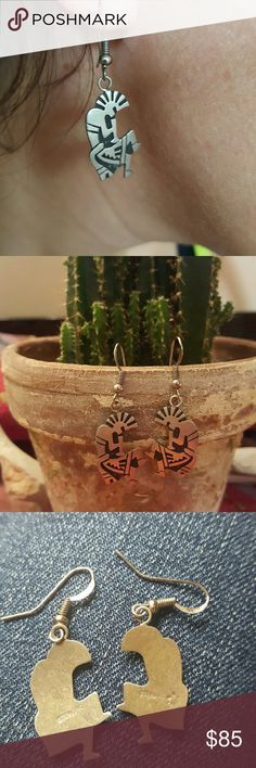 Hopi Sterling Silver Kokopelli Earrings Handmade Hopi sterling silver overlay earrings on a sterling silver French hook. They are marked sterling with an artist's pictograph Hallmark. Native American made in New Mexico. Vintage Jewelry Earrings