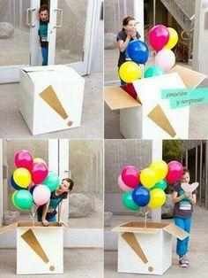 Caja con globos Balloons box  Sorpresa Sorprise Gift Regalos