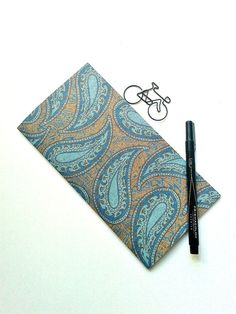BLUE PAISLEY Traveler's Notebook Insert - Midori Insert - Notebook Refill - Fauxdori Insert - Personal Log -  Paisely and Floral - N110