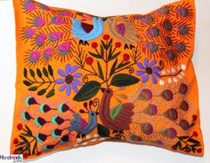 Hand Embroidered Orange Cushion Cover / Pillow by HandmadeArtMX