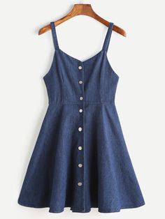 Shop Blue Single Breasted Slip Denim Dress at ROMWE, discover more fashion styles online. Cute Dresses, Casual Dresses, Short Dresses, Casual Outfits, Cute Outfits, Summer Dresses, Slip Dresses, Casual Clothes, Tween Fashion