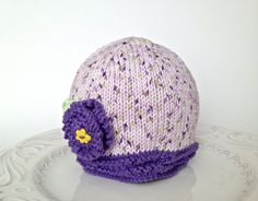 Knitted baby hat girl beanie purple hat cotton by TinyLoveGifts, $18.00 #promoswap