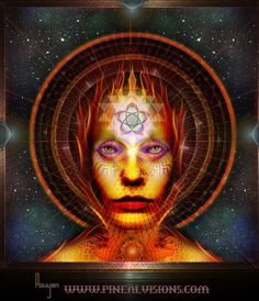 """✣... The pineal gland is a remarkable feature of the human experience. Nestled in the brain between the two hemispheres, it is a source of endless intrigue in the realm of mysticism. Indeed, it's known by pseudonyms such as the """"third eye"""" the """"dream center"""" and the """"mystic seed.""""    http://www.symbolic-meanings.com/2009/12/18/the-pinecone-the-pineal-gland-and-an-illuminating-meditation/  Image; Pineal Visions"""