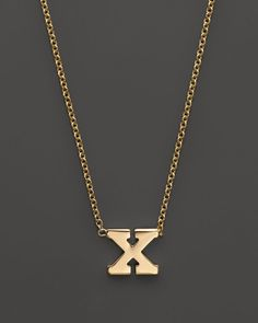 """Zoe Chicco 14K Yellow Gold Initial Necklace, 16"""""""