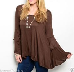 Plus-Size-Brown-Boho-Peasant-Bell-Sleeve-Top