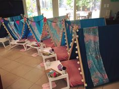 sleepover, slumber party, goodnight, sweet dreams, set up, tents, party favours, birthday, indoor, fun, craft