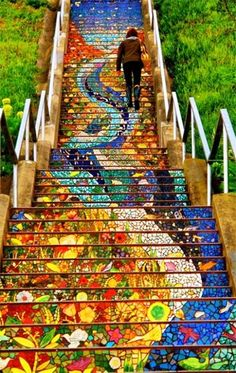Funny pictures about Tiled Stairs In San Francisco. Oh, and cool pics about Tiled Stairs In San Francisco. Also, Tiled Stairs In San Francisco photos. Oh The Places You'll Go, Places To Travel, Places To Visit, Travel Destinations, Mosaic Stairs, Tiled Staircase, Mosaic Tiles, Mosaic Art, Staircase Design