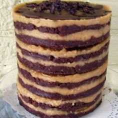 Decadent 16 Layer Cacao & Peanut Butter Raw Cake (Gluten,Dairy,Soy,Corn,Rice,Egg, Refined Sugar Free and Vegan)