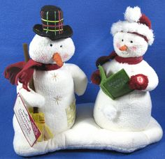 Vintage 2003 Hallmark Jingle Pals Singing Caroling Snowmen Pair W/Tags 1st Issue