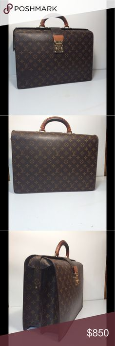 """Louis Vuitton Serviette Fermoir Briefcase Louis Vuitton Serviette Fermoir Briefcase Business Bag ... Date code: MI0989 ... Color: Brown ... Material: Monogram Canvas / Leather ... Length: 16"""" ... Height: 12"""" ... Width: 4"""" ... Features: Push lock closure (Doesn't come with key) ... Zippered interior pocket ... D-Ring Keyholder ... Condition: Normal sign of use ... Leather Patina ... Leather rub ... Excellent preowned condition ... Guaranteed Authentic. Louis Vuitton Bags Travel Bags"""