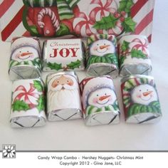 Printable Christmas Hershey Nuggets Wrappers -  Cute snowman, Santa , Peppermint and Christmas Joy -Gina Jane Designs - DAISIE Company