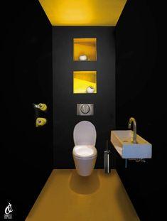 Black toilet a decorative color for the toilet - Black & Yellow. Yellow to wake black toilet too dark - Modern Minimalist Bedroom, Minimalist Interior, Minimalist Decor, Minimalist Kitchen, Minimalist Bathroom, Minimalist Living, Minimalist Jewelry, Modern Bathroom, Small Bathroom