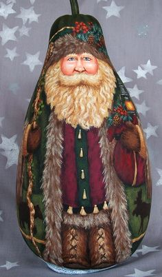 "Reserved for Songbird Northwoods St. Nick, hand painted Santa Claus gourd, 13"" tall"