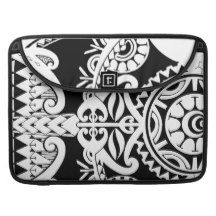 Bold heavy black tribal polynesian tattoo mask sleeves for MacBook pro
