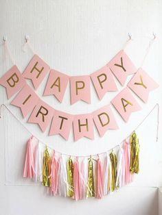 Simple Birthday Decorations, Diy Birthday Banner, Happy Birthday Bunting, Birthday Balloons, Birthday Party Decorations, Birthday Invitations, Birthday Ideas, Pink Happy Birthday, 1st Birthday Parties