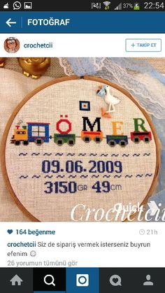 . Wool Embroidery, Cross Stitch Baby, Punch Art, Cross Stitching, Baby Quilts, New Baby Products, Free Pattern, Diy And Crafts, Sewing