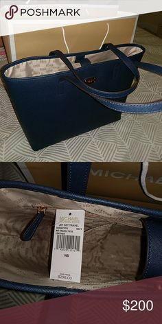 Michael Kors Medium Jetset Travel Tote Navy Final Markdown  NWT Medium Michael Kors Travel Tote Saffiano Leather  Bought for my mom for Christmas but it was way to big for her apparently Michael Kors Bags Totes