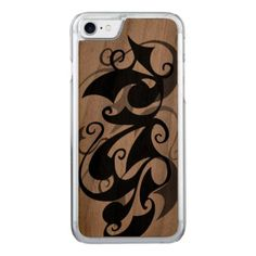 Wood Negative Shadow Swirl (iPhone 7) Clear Edge Carved iPhone 8/7 Case - wood gifts ideas diy cyo natural