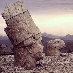 """[Photo: The Armenian Pantheon of Gods on Mount Nemrut ]  Erected in 63 BC by King Antiochus I Theos of the Orontid Dynasty of the Armenian Kingdom of…"""