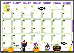 Printable Calendar October 2016 - Halloween planner - DIY Planner - Halloween theme - Sheet goes Sun to Sat - Instant Download