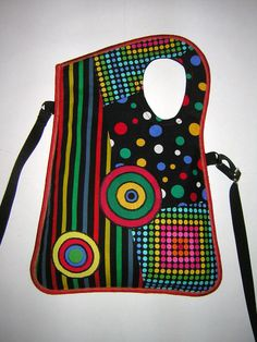 MEDIUM CANVAS BAG mixed fabrics in Black  colorful with by mocsi61, $39.00