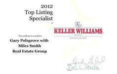 Congratulations to our own Gary Polsgrove for being named the Top Listing Specialist at Keller Williams Realty Louisville East for 2012.  If you're looking for someone to help sell your Louisville home, learn more about Gary here - http://www.milessmithgroup.com/about/gary-polsgrove/