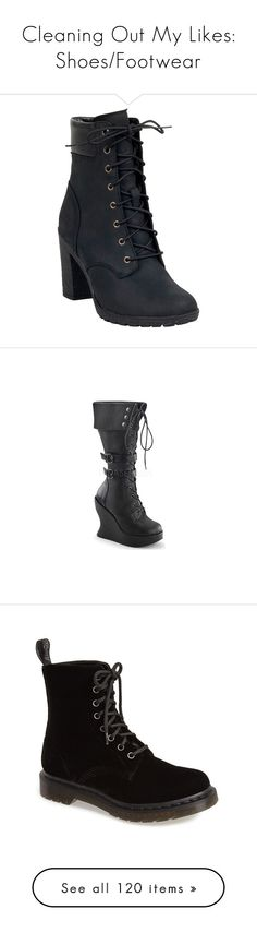 """""""Cleaning Out My Likes: Shoes/Footwear"""" by the-freak-of-nature ❤ liked on Polyvore featuring shoes, boots, black, black high heel boots, timberland shoes, high heel work boots, high heel shoes, timberland boots, heels and black lace-up boots"""