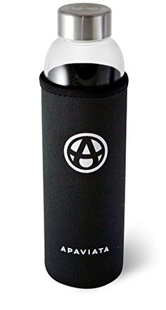 APAVIATA Glass Water Bottle with BLACK Neoprene Sleeve - 18.5oz Borosilicate Glass & Stainless Steel Insulated Bottle - FREE Carabiner and Hand Strap Included ApaViata http://www.amazon.com/dp/B00P84G3HC/ref=cm_sw_r_pi_dp_P0xgvb00HV1D4