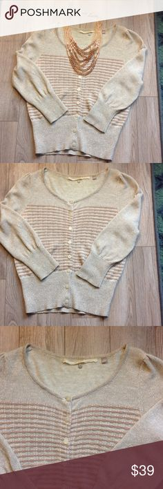 🎉FINAL PRICE Anthropologie gold sweater Perfect condition gold metallic sweater. Buttons have rhinestones and a flower print. So cute. Anthropologie Sweaters Cardigans