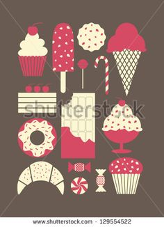 A set of retro style dessert icons.