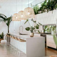 Kitchen Plants, Home Decor Kitchen, Kitchen Interior, Home Interior Design, Home Kitchens, Kitchen Modern, Decorating Kitchen, Modern Interior, Coastal Kitchen Lighting