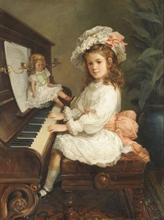 Nicholas Chevalier - Portrait of Miss Winifred Hudson as a Young Girl, seated at a piano, her doll nearby