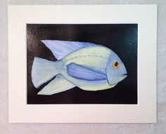 Fish Painting of Tropical Fish Watercolor 5x7 by SunberryCreations