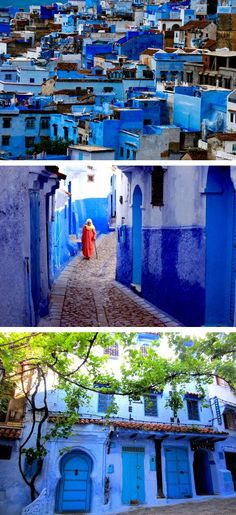 Chefchaouen, Morocco - An entire city painted blue by Jewish refugees in the 1930's and has held the true blue color to this day.