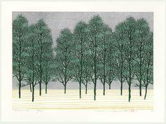Treescene 117 by Hajime Namiki (b. 1947) Japanese Woodblock Print 2004