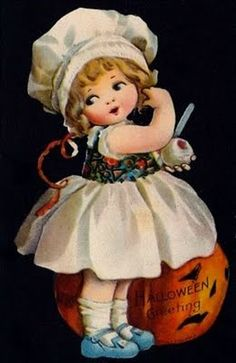 This is a nice vintage early printed Halloween postcard signed by artist Ellen Clapsaddle showing a scene of a Girl Peeling Apple next to a Jack o Lantern. Publisher: Wolf No Retro Halloween, Vintage Halloween Images, Halloween Prints, Halloween Signs, Halloween Pictures, Holidays Halloween, Happy Halloween, Link Halloween, Halloween Clipart