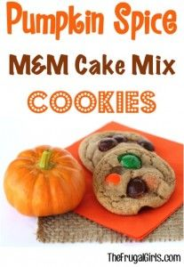 M&M Pumpkin Spice Cookie Recipe made with Cake-Mix from TheFrugalGirls.com