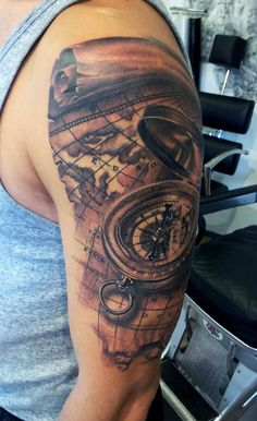 Compass/Map tattoo