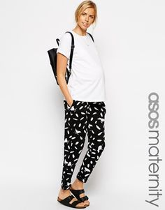 ASOS Maternity Exclusive Peg Trouser In Feather Print