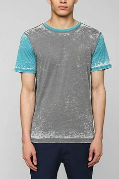 BDG Duo-Dye Colorblock Burnout Tee - Urban Outfitters