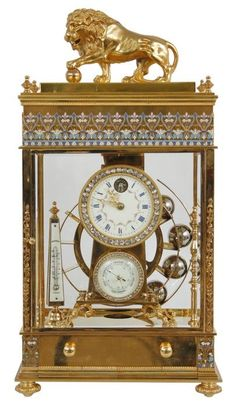 enameled rolling ball french mantel clock