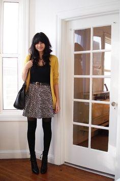 Mustard cardigan + skirt + tights