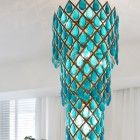 Turquoise Crystal Chandelier | Casa Decor Madrid designed by Beatriz Silveira.