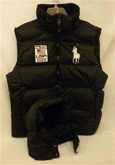 XL Men's Big Pony Polo Ralph Lauren USA Alpine Ski Hood Down Black Puffer  Vest NWT