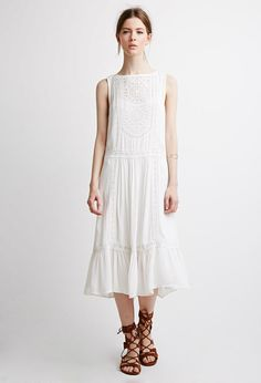 Forever 21 Contemporary Embroidered Crochet Midi Dress