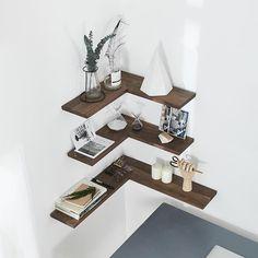 Corner Shelf Design, Wall Shelves Design, Diy Wall Shelves, Wood Shelves, Display Shelves, Storage Shelves, Diy Corner Shelf, Walnut Shelves, Wall Shelving