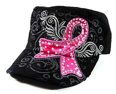 Women's Pink Ribbon Rhinestone Cadet Cap (Black)