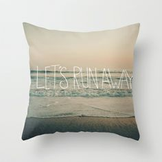 Let's Run Away by Laura Ruth and Leah Flores Throw Pillow by Leah Flores Designs - $20.00