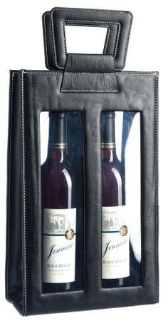SAVE $9 - #Black Leather Wine Bag Case with Clear Durable Double Window Display, Holds Two Bottles $15.99