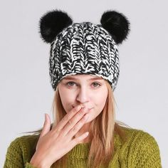 2017 New Winter Hats For Women Beanies Pompom Knitted Hat Cute Cat/Panda Mickey Beanies Hat Cotton Warm Hat With Ears